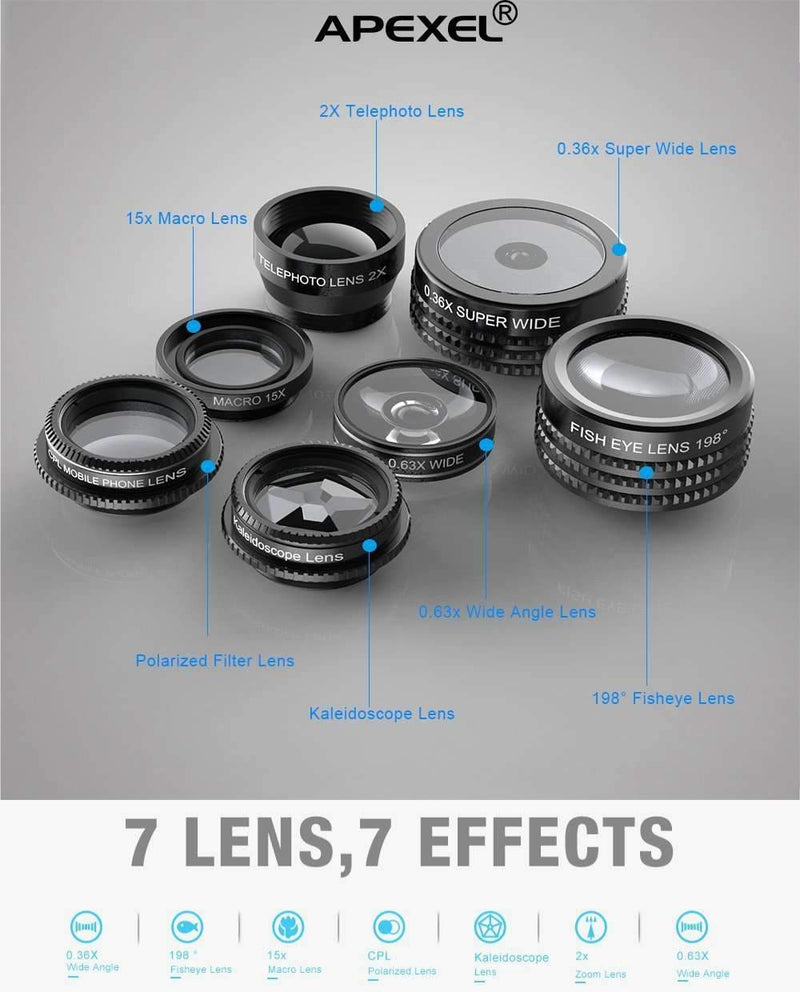 7 in 1 Mobile Camera Lens Kits Fisheye 0.36x Wide Angle Telescope CPL Kaleidoscope APEXEL