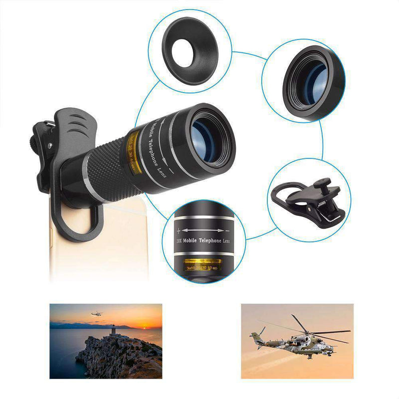 20X Telephoto Zoom Lens Monocular Telescope with Tripod for Phone Mobile Photography Accessories APEXEL