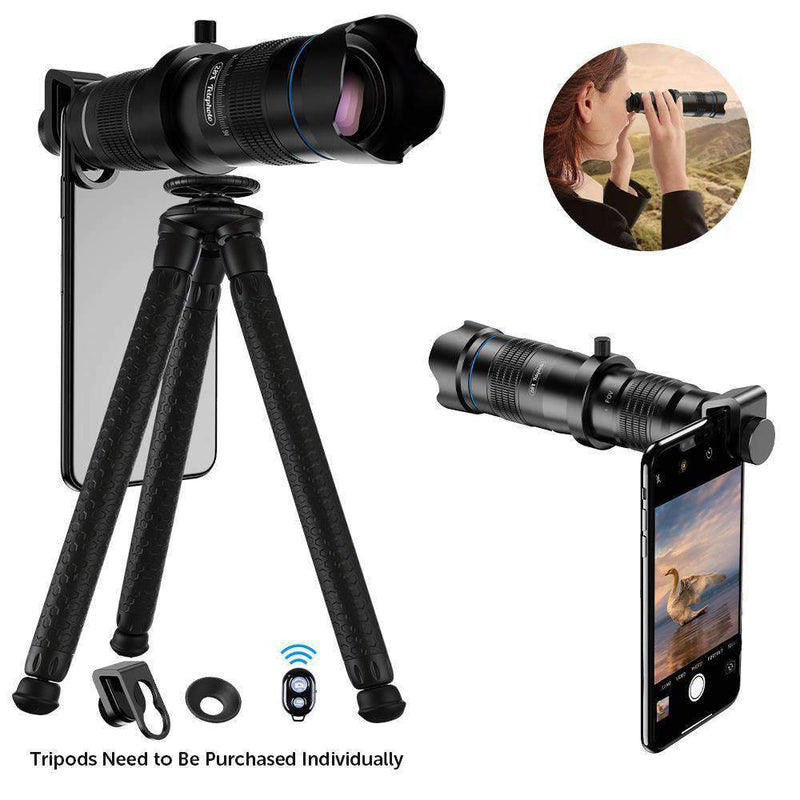 60X Monocular Telescope Lens Astronomical Zoom Extendable Tripod for Phone APEXEL 60X Telescope with Tripod&Remote Shutter