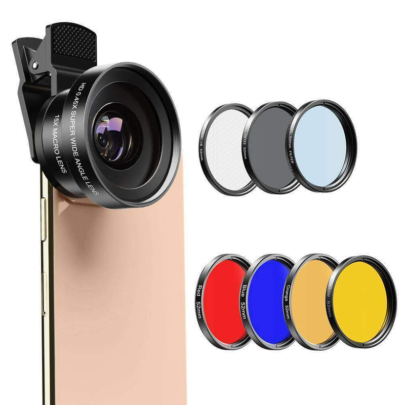 Phone Lens Kits 0.45X Wide Angle Macro 37/52mm CPL ND32 Full Color Filter Mobile Photography Accessories APEXEL 0.45X Wide Angle Macro with 52mm Filter Lens Kit