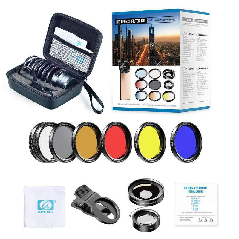 Phone Lens Kits 0.45X Wide Angle Macro 37/52mm CPL ND32 Full Color Filter Mobile Photography Accessories APEXEL 0.45X Wide Angle Macro with 37mm Filter Lens Kit