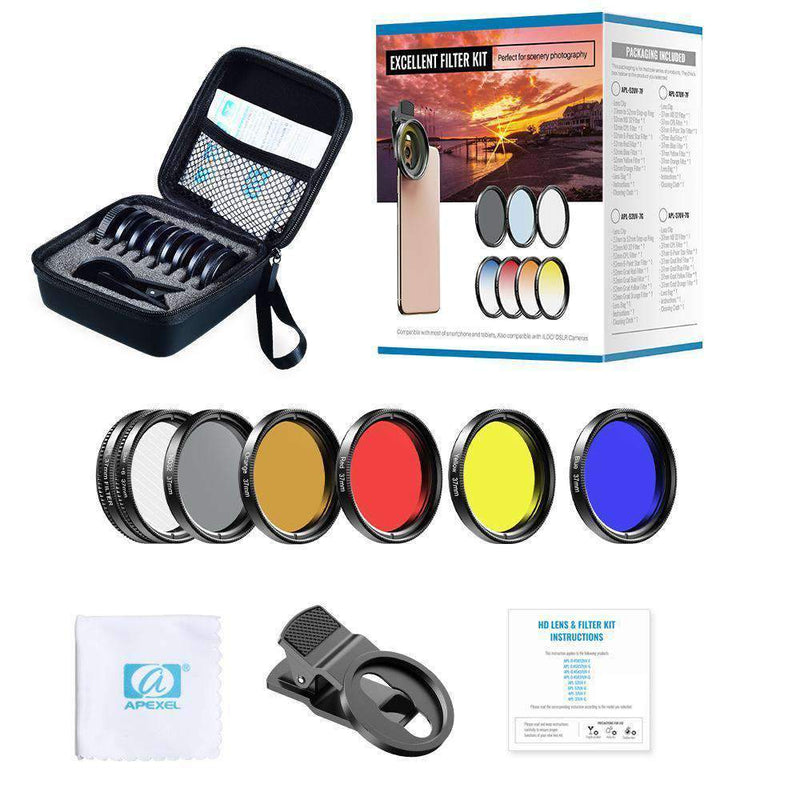 Phone Lens Kits 0.45X Wide Angle Macro 37/52mm CPL ND32 Full Color Filter Mobile Photography Accessories APEXEL 37mm Filter Lens Kit