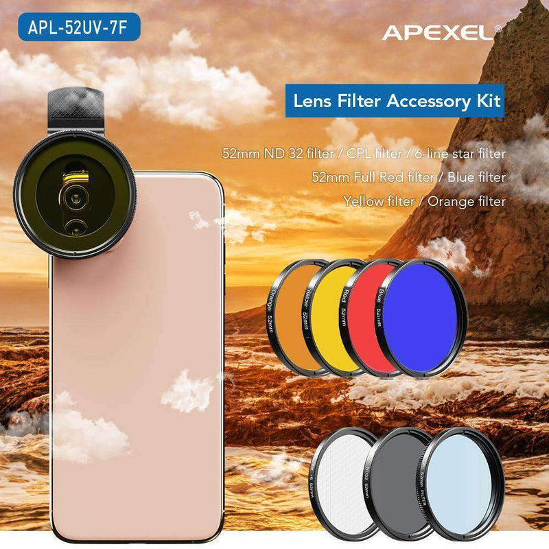 Phone Lens Kits 0.45X Wide Angle Macro 37/52mm CPL ND32 Full Color Filter Mobile Photography Accessories APEXEL 52mm Filter Lens Kit