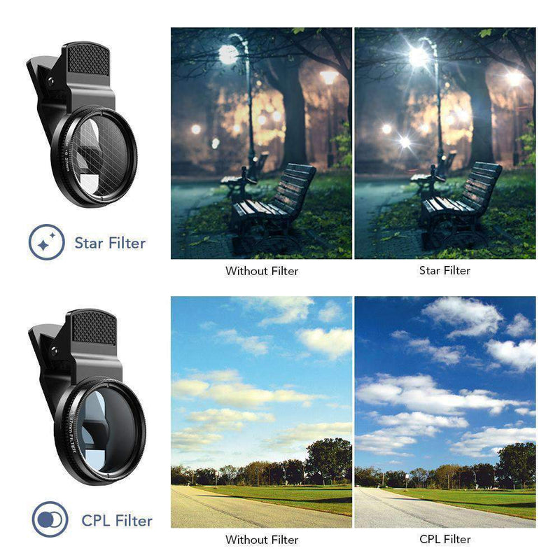 Phone Lens Kits 0.45X Wide Angle Macro 37/52mm CPL ND32 Full Color Filter Mobile Photography Accessories APEXEL