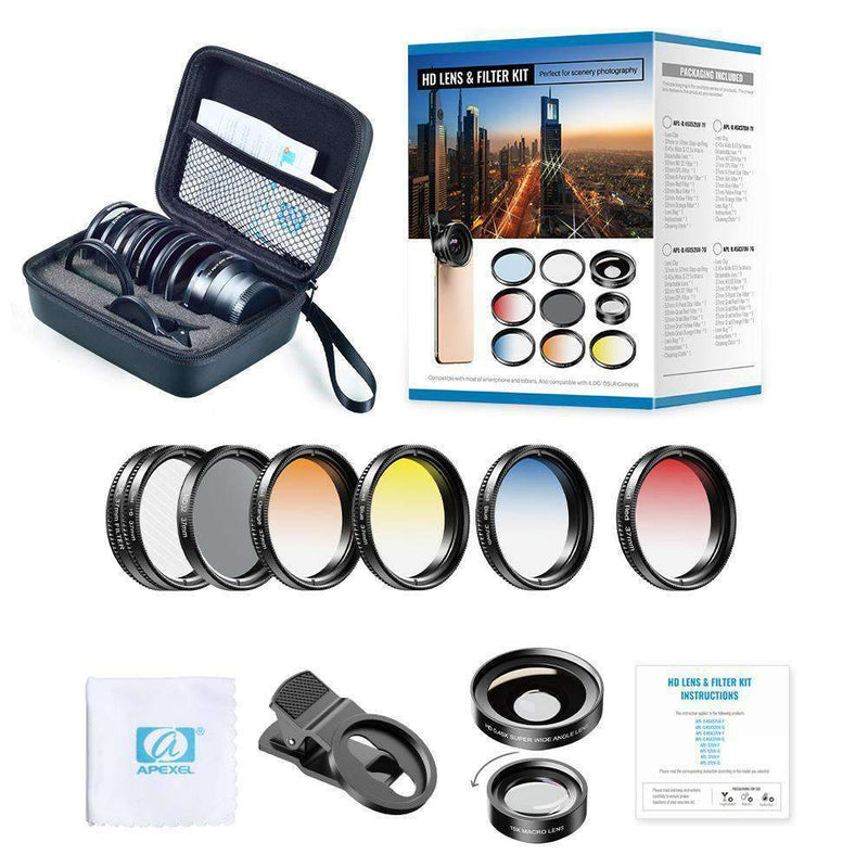 Phone Lens Kits 0.45X Super Wide Angle Macro 37/52mm CPL ND32 Grad Color Filter Mobile Photography Accessories APEXEL 0.45X Wide Angle Macro Lens with 37mm Filter Kit
