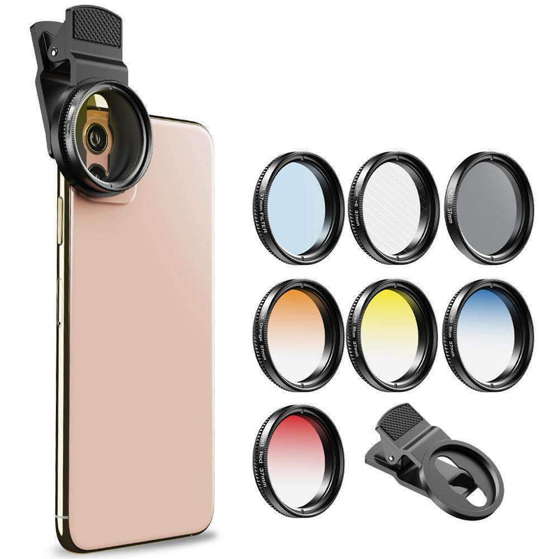 Phone Lens Kits 0.45X Super Wide Angle Macro 37/52mm CPL ND32 Grad Color Filter Mobile Photography Accessories APEXEL 37mm Filter Lens kit