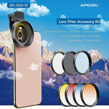 Load image into Gallery viewer, Apexel New trending items 0.45X Super Wide Angle Macro Lens 37/52mm CPL ND32 Grad Color Filter Lens Kit For Mobile Phone Mobile Photography Accessories APEXEL 52mm Filter Lens Kit(Without 0.45X Wide Angle Macro)