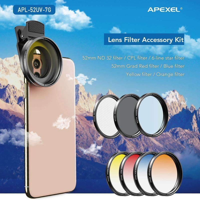 Phone Lens Kits 0.45X Super Wide Angle Macro 37/52mm CPL ND32 Grad Color Filter Mobile Photography Accessories APEXEL 52mm Filter Lens Kits
