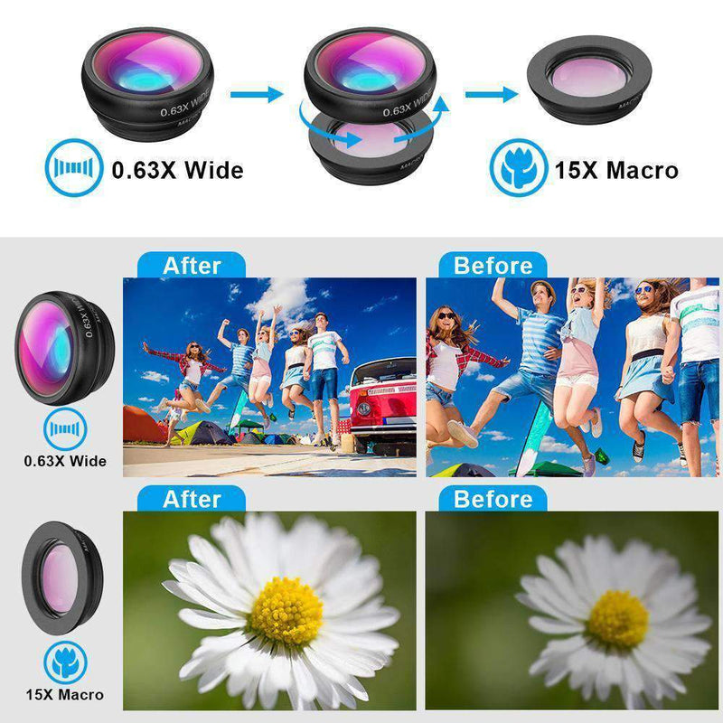 5in1 Camera Lens Kits 16x Telephoto Fisheye Wide Angle With Tripod for Phone Mobile Photography Accessories APEXEL