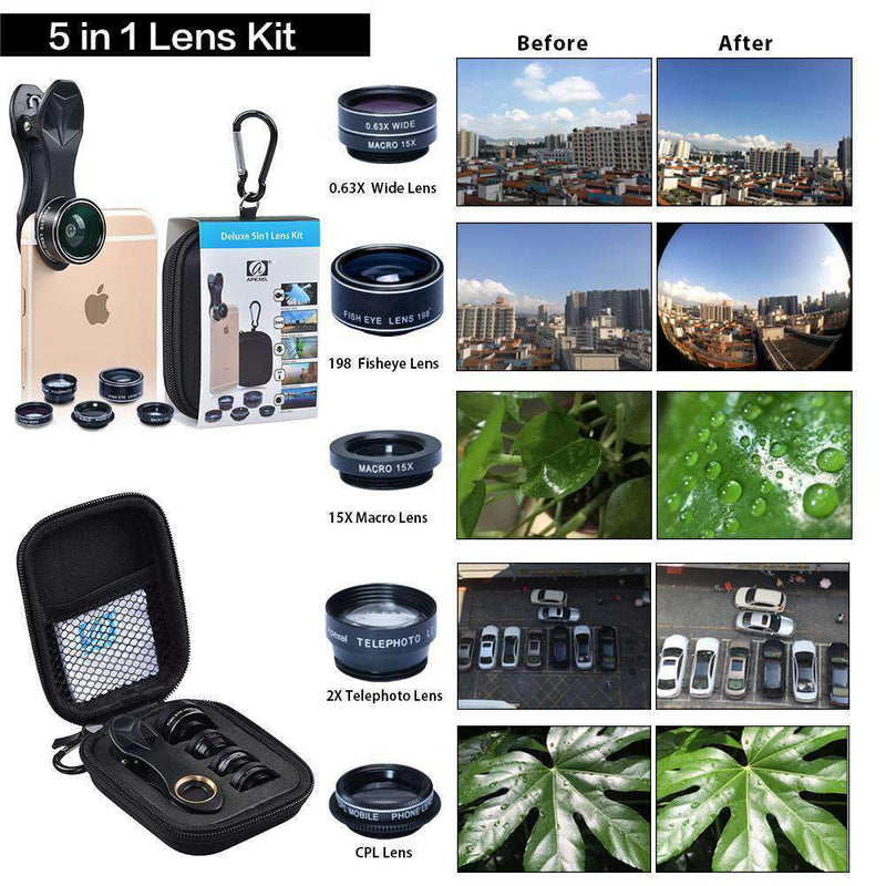 5in1 Clip-on Mobile Phone Lens Kits Wide Angle Macro Fisheye Telescope CPL APEXEL