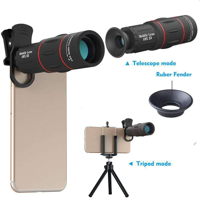 18x Telephoto Camera Lens With Clip for Mobile Phone APEXEL 18X Lens with Tripod