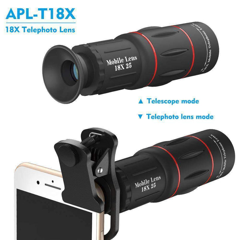 18x Telephoto Camera Lens With Clip for Mobile Phone APEXEL Single 18X Lens