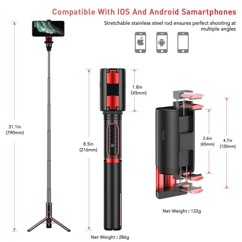 Extendable Phone Selfie Stick Gimbal Stabilizer Mobile Photography Accessories APEXEL