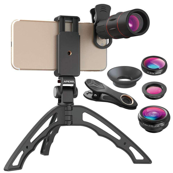 18X Telescope Fisheye Wide Angle Macro 4in1 Lens Kit With Tripod Clip APEXEL Full 18X Lens Kit
