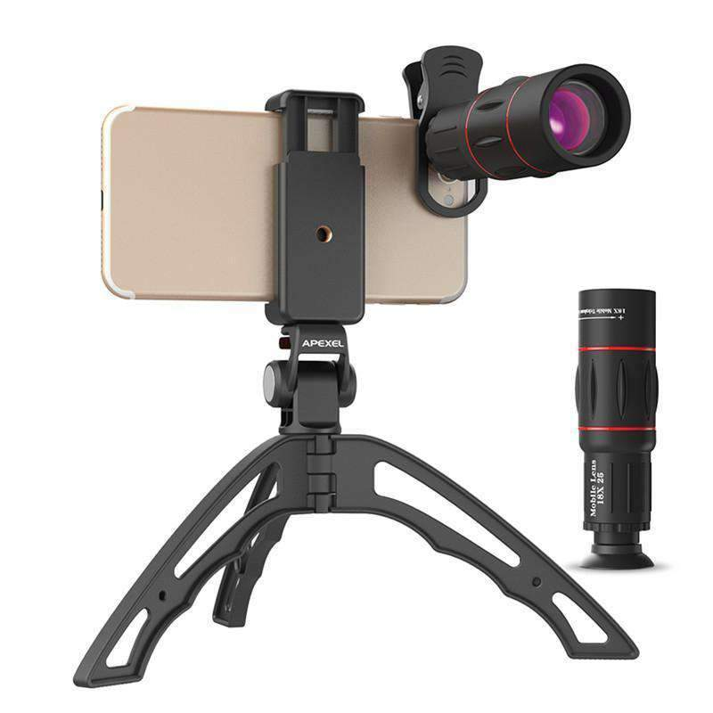 18X Telescope Fisheye Wide Angle Macro 4in1 Lens Kit With Tripod Clip APEXEL Single 18X Lens with Tripod