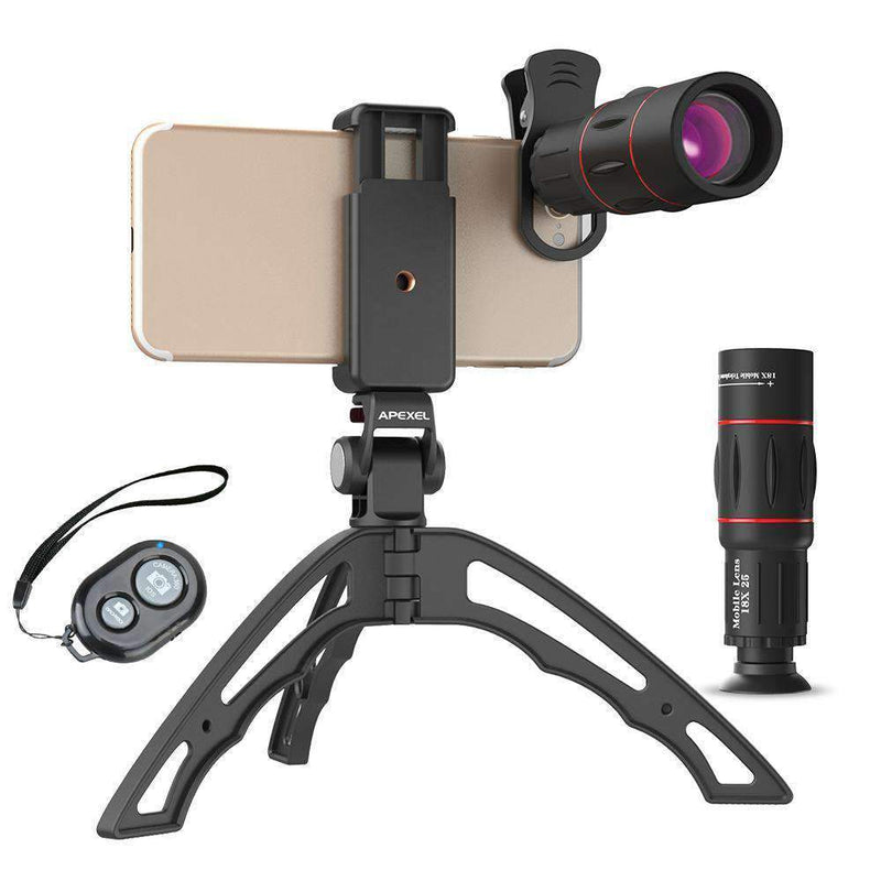 18X Telescope Fisheye Wide Angle Macro 4in1 Lens Kit With Tripod Clip APEXEL Single 18X Lens With Tripod&Remote Shutter