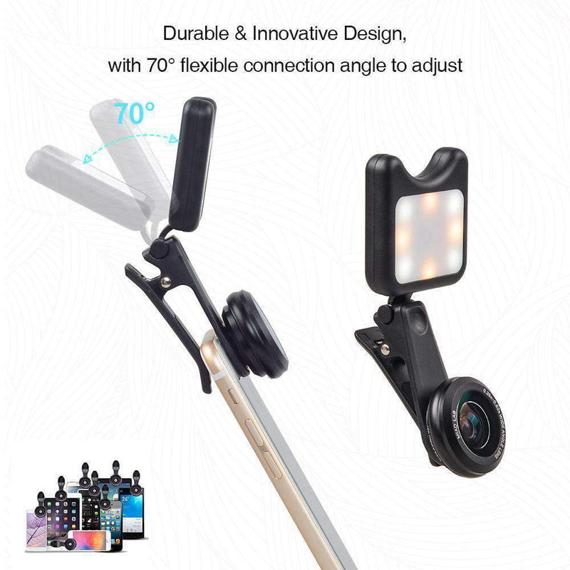 2in1 HD Clip-on Phone Lens Kit 0.6X Wide Angle Macro With Selfie Flash Ring Led APEXEL