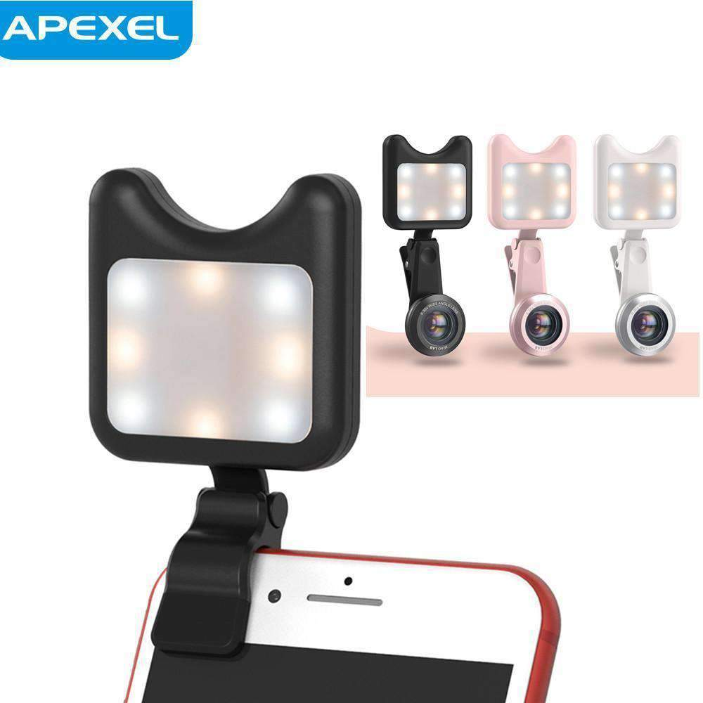 HD Clip-on 0.6X Wide Angle Macro Selfie Flash Ring Led 2in1 Lens Kit APEXEL
