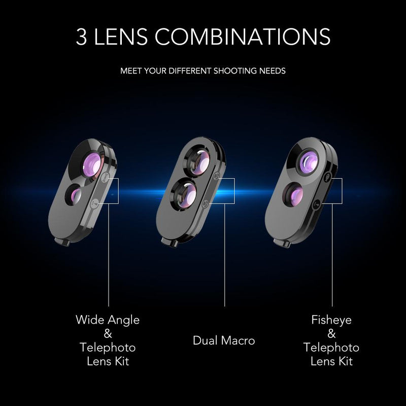 Dual Camera Lens Kit With Phone Case for iPhoneX / Xs / Xs Max APEXEL