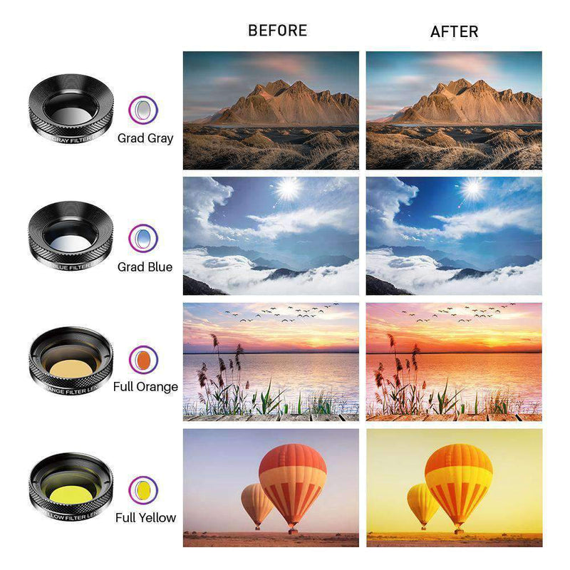 11 in 1 Cell Phone Camera Optical Filter Lens Kits With Clip Mobile Photography Accessories APEXEL
