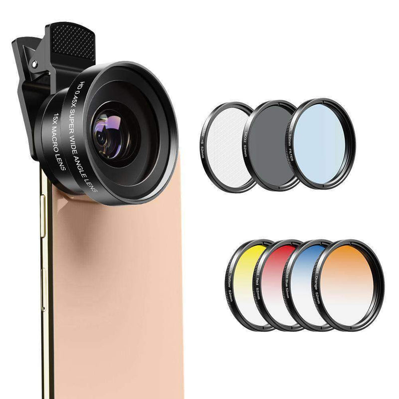 Phone Lens Kits 0.45X Super Wide Angle Macro 37/52mm CPL ND32 Grad Color Filter Mobile Photography Accessories APEXEL 0.45X Wide Angle Macro Lens with 52mm Filter Kit
