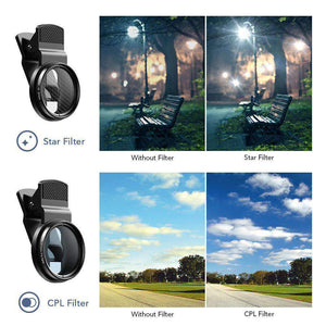 New trending items 0.45X Super Wide Angle Macro Lens 37/52mm CPL ND32 Grad Color Filter Lens Kit For Mobile Phone Mobile Photography Accessories APEXEL