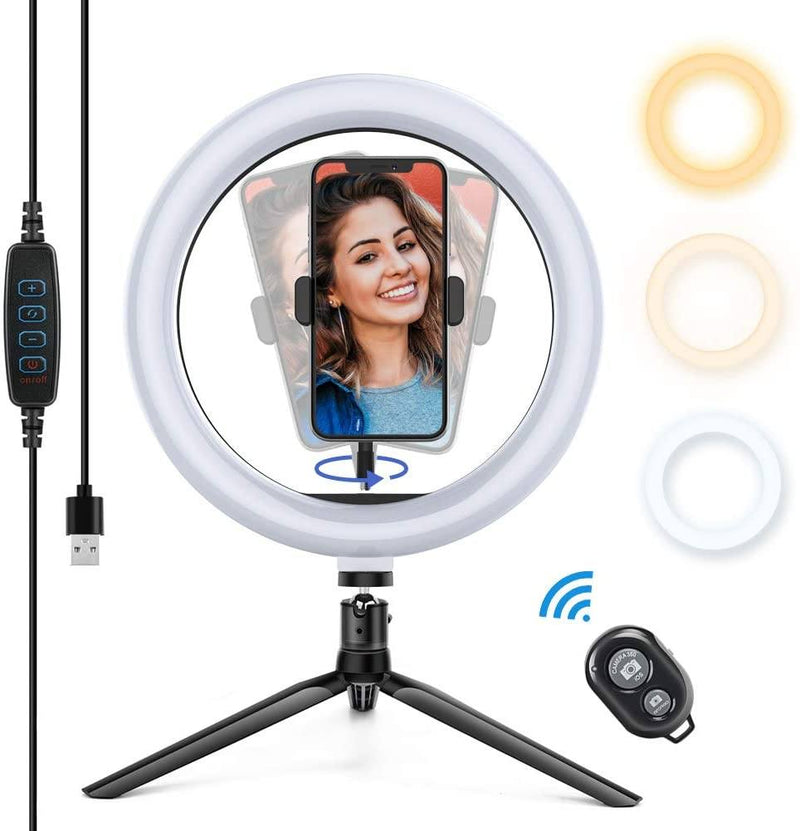 "APEXEL 10"" 26cm LED Selfie Circle Ring Light with Stand and Phone Holder APEXEL With Tripod&Remote Shutter"