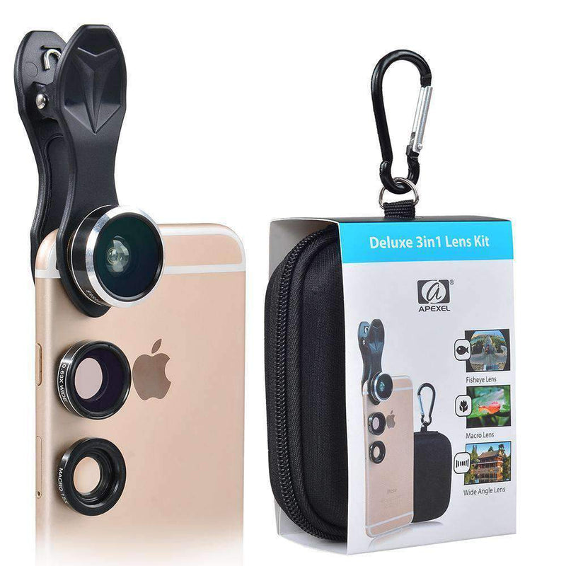 3in1 Phone Camera Lens Kits Fisheye Wide Angle Macro with Universal Clip APEXEL