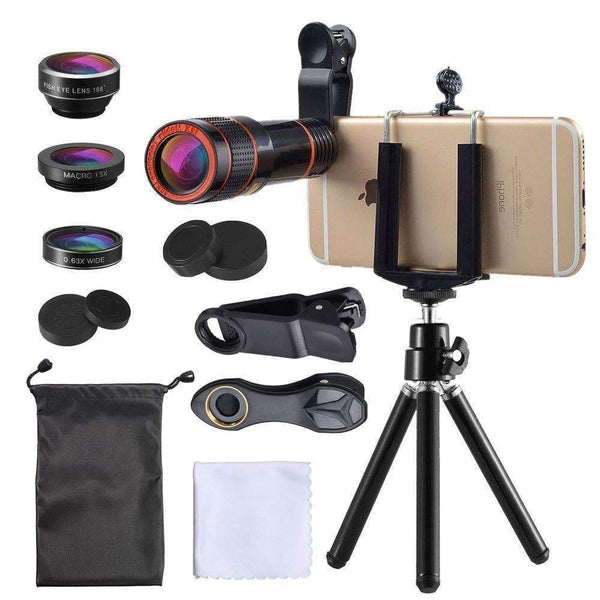4in1 Phone Camera Lens Kits 12X Telescope 198 Fisheye 0.63X Wide Angle Macro With Tripod APEXEL