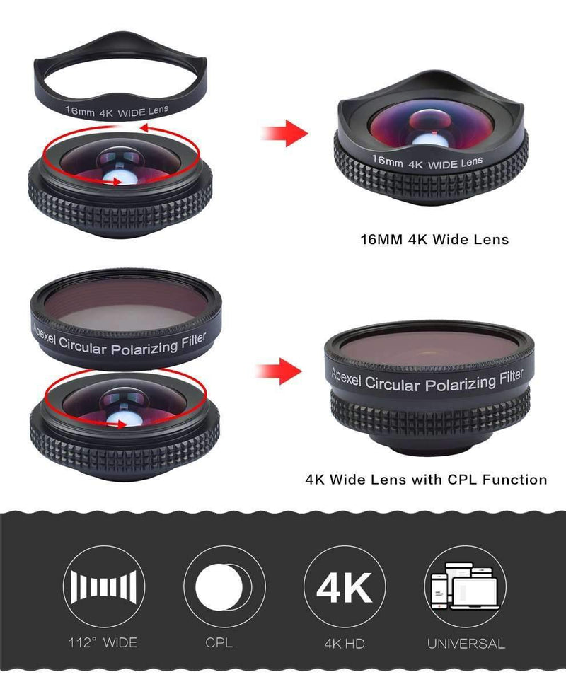 16mm 4K HD Mobile Camera Wide Angle Lens No Distortion With CPL Universal Clip APEXEL