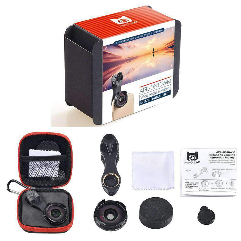 2in1 Phone Lens Kits Universal Clip-on HD 0.6X Wide Angel Macro APEXEL