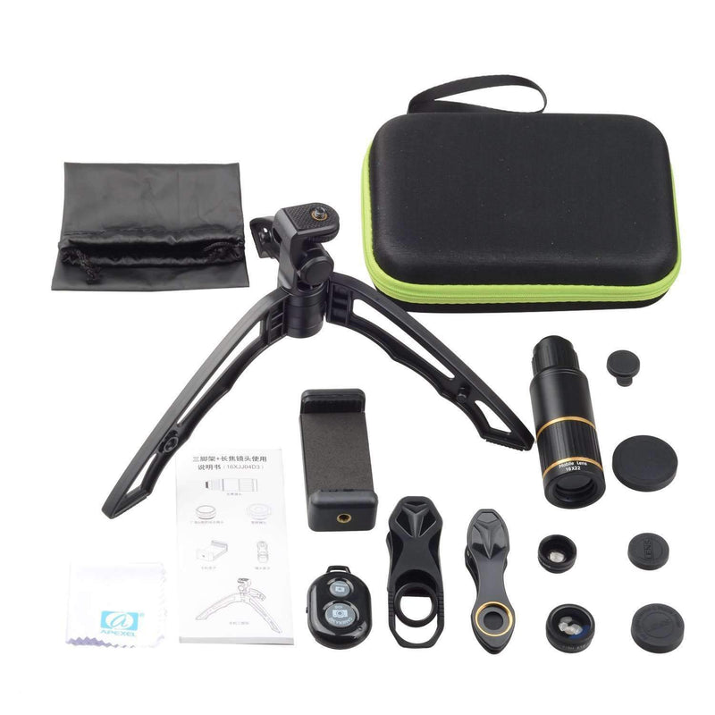 5in1 Phone Lens Kits Fisheye Wide Angle Macro 16x Telephoto With Handheld Tripod APEXEL