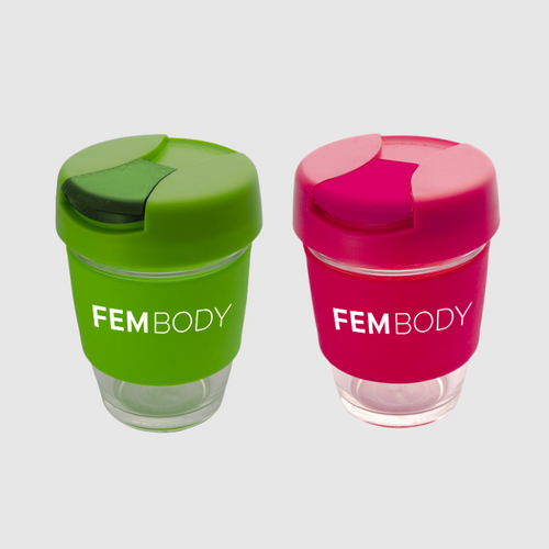 Fembody Tea - Glass travel mug pink and green