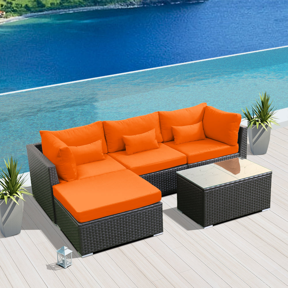 (5H) Modern Wicker Patio Furniture Sofa Set