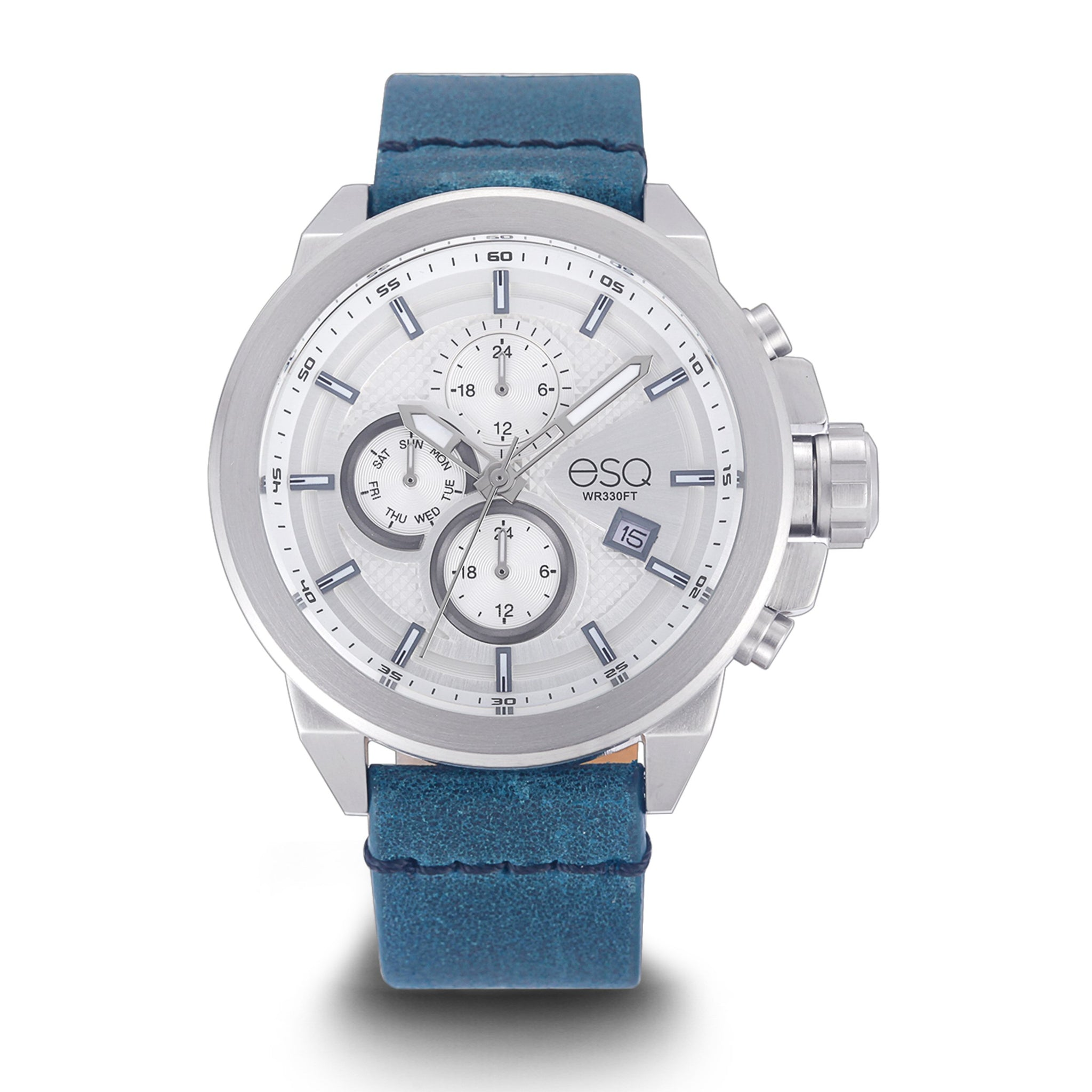 Men's ESQ0001 Multi-Function Stainless Steel Watch with White Dial and Blue Leather Strap