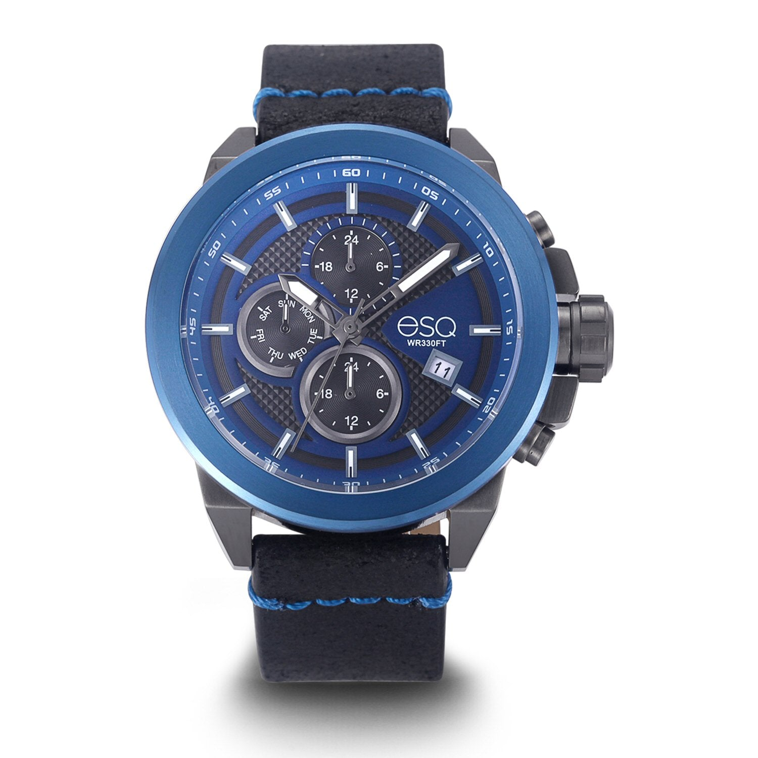Men's ESQ0002 Multi-Function Stainless Steel Watch with Blue Dial and Black Leather Strap