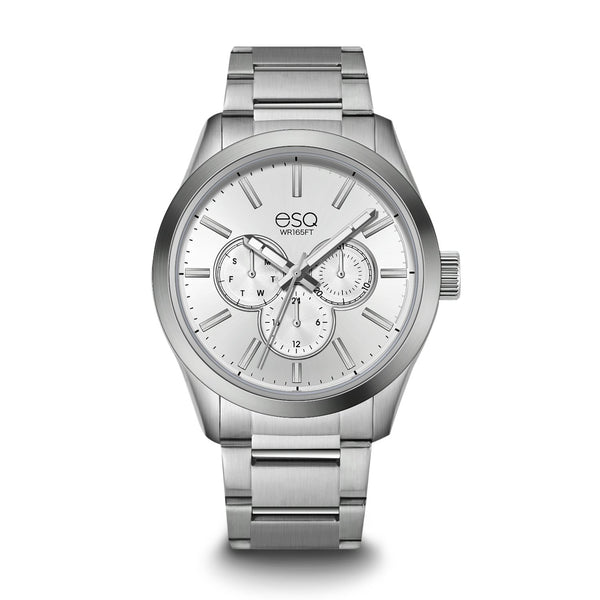 Men's ESQ0010 Multi-Function Stainless Steel Watch with White Dial and Stainless Steel Bracelet