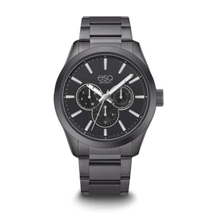 Men's ESQ0013 Multi-Function Stainless Steel Watch with Black Dial and Stainless Steel Bracelet