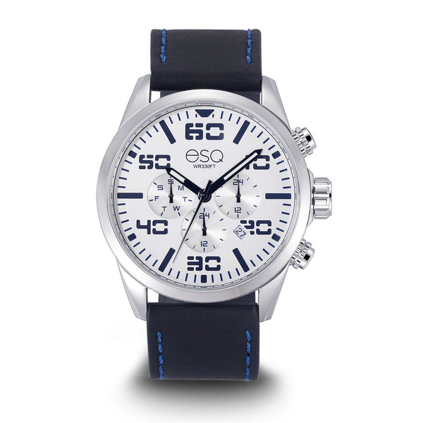 Men's ESQ0020 Multi-Function Stainless Steel Watch with White and Blue Dial and Black Leather Strap
