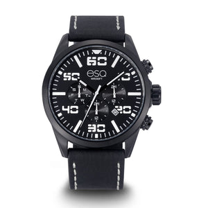 496cf21d317 Men s ESQ0021 Multi-Function Stainless Steel Watch with Black and White Dial  and Black Leather