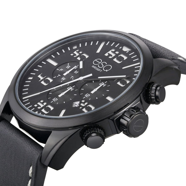 Men's ESQ0021 Multi-Function Stainless Steel Watch with Black and White Dial and Black Leather Strap