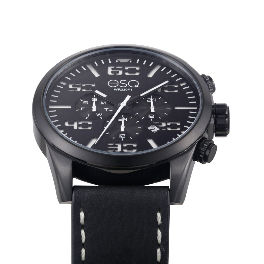 58d44d7ae8b ... Men s ESQ0021 Multi-Function Stainless Steel Watch with Black and White  Dial and Black Leather ...