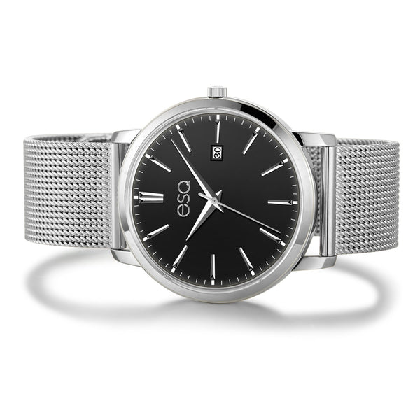 Men's ESQ0040 Stainless Steel Watch with 3-Hand/Date Window, Domed Crystal and Stainless Steel Mesh Bracelet