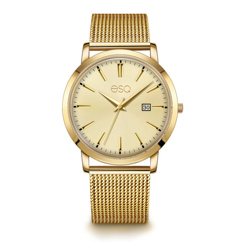 Men's ESQ0042 Gold IP Stainless Steel Watch with 3-Hand/Date Window, Domed Crystal and Stainless Steel Mesh Bracelet