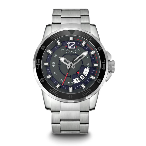Men's ESQ0050 Stainless Steel Bracelet Watch with Grey and Silver Dial, Date Window