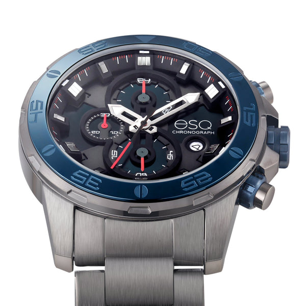 Men's ESQ0060 Stainless Steel Chronograph Bracelet Watch, Brushed Gun Metal Finish with Black Dial and Date Window
