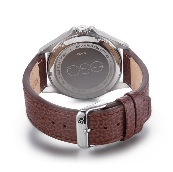 Men's ESQ0070 Stainless Steel 3-Hand Day/Date Watch with Textured Grey Dial and Genuine Leather Strap