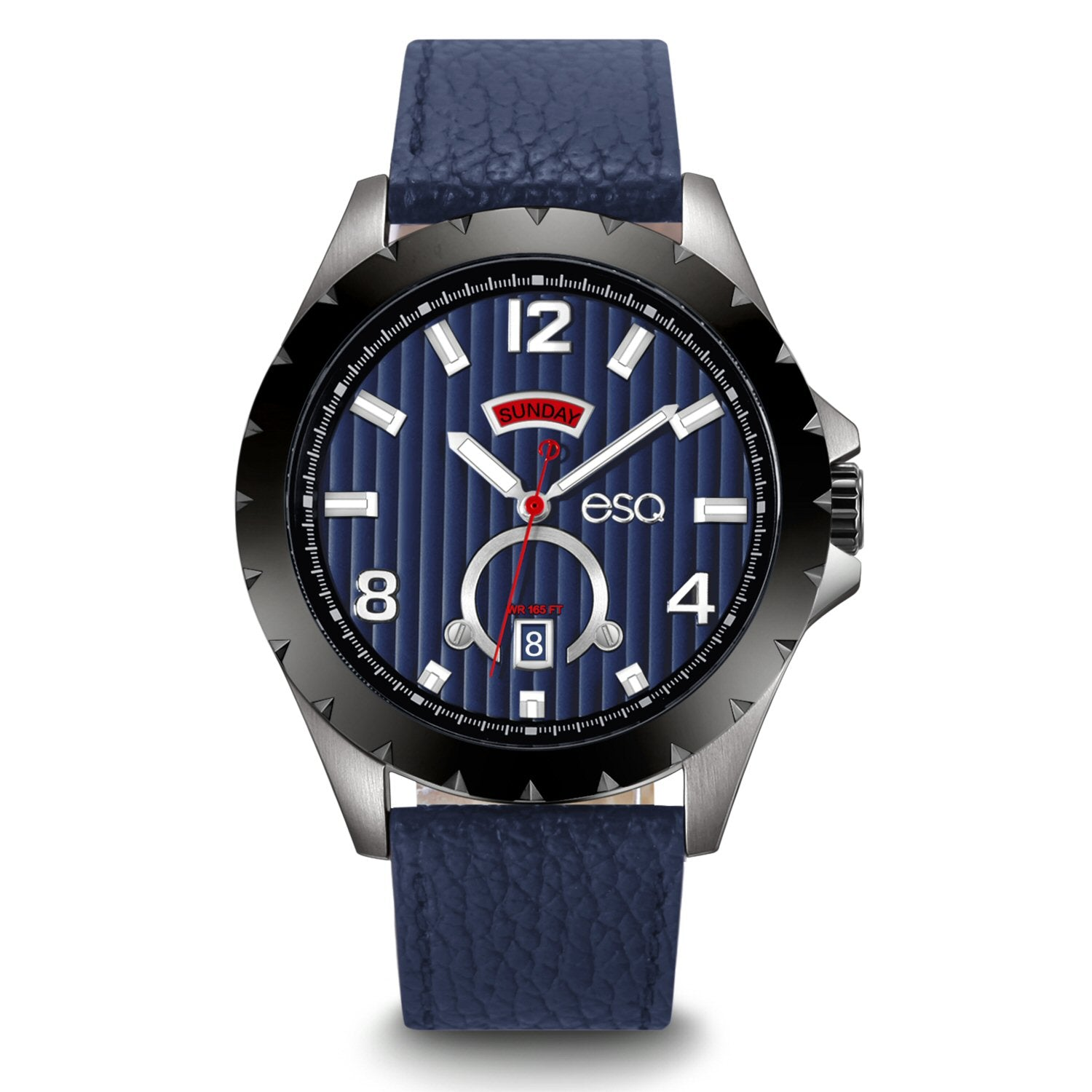 Men's ESQ0071 Stainless Steel 3-Hand Day/Date Watch with Textured Blue Dial and Genuine Leather Strap