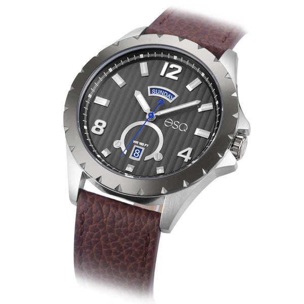 Men's ESQ0072 Stainless Steel 3-Hand Day/Date Watch with Textured Grey Dial, Gun Metal IP Bezel and Genuine Leather Strap