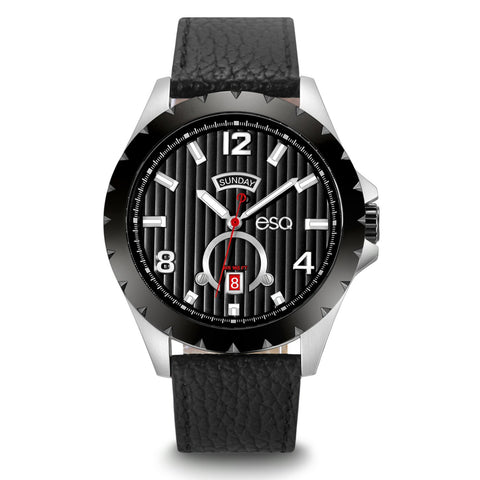 Men's ESQ0073 Stainless Steel 3-Hand Day/Date Watch with Textured Black Dial, Black IP Bezel and Genuine Leather Strap